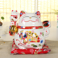 Hot Selling Newest Lucky Cat Ornaments Large Piggy Bank Japanese Shops Opened Home Gifts Ceramic Crafts In Stock