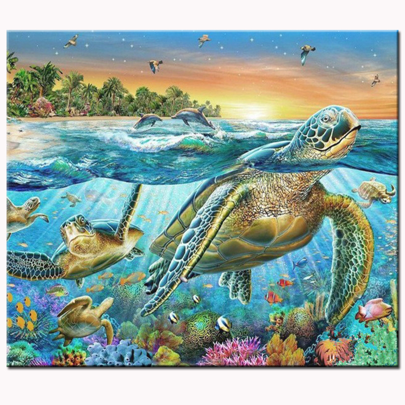 Sea Turtle Full Round 5d Diy Diamond Embroidery Handmade Painting Animal Mosaic Cross Sch