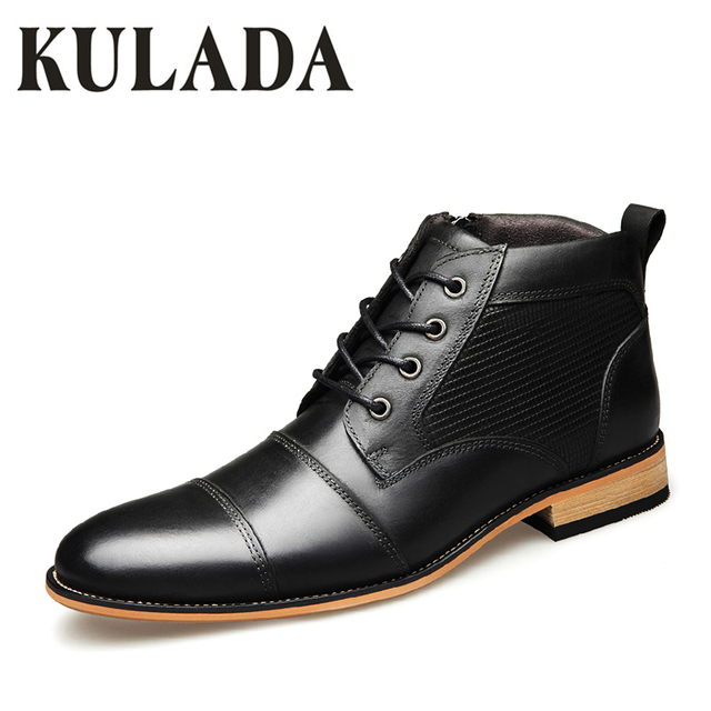 fa80289550c6 KULADA Men s Genuine Leather Shoes Euro Style Men Boots Luxury Zip Ankle  Boots Big Size 40