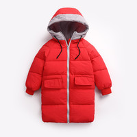 Hot Snow Weather Winter New Children Warm Outerwear Clothing Thick Long Hooded Fashion Coat Kids Boy Girls Down & Parkas Unisex