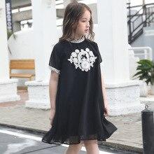 Teenager Girl Chiffon Dress Girls Summer Lace Patchwork Dresses Black Loose Princess Children Vestido Age 6 8 10 12 14 15 Years