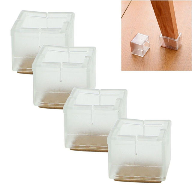High Quality 4pcs Square Chair Leg Caps Rubber Feet Protector Pads