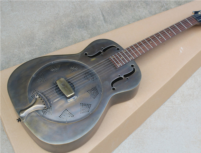 free shipping electric guitar with pure copper body tri cone resonator style gold tuners and can. Black Bedroom Furniture Sets. Home Design Ideas