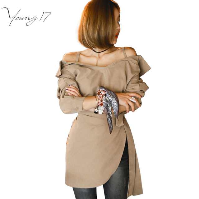 Young17 2016 Женщин Блузка С Плеча Ремень Спагетти рубашки сексуальная хем сплит лук коричневый Свободные Повседневные Блузки Топ осень стиль