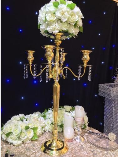 Wedding Candelabra 66cm Tall Gold Table Centerpiece Flower Vase Wedding Decoration In Candle