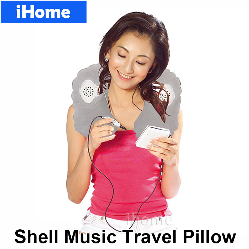 Fashion travel pillows with speaker inflatable headphone for Music speaker pillow