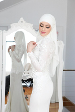 2016 New Arrival Muslim Hijab Wedding Dress Mermaid White Lace Appliques Long Sleeves Bridal Dress