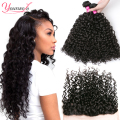 Indian Curly Hair Lace Frontal Closure With Bundles Indian Water Wave Virgin Hair With Closure Wet And Wavy Human Hair Closure