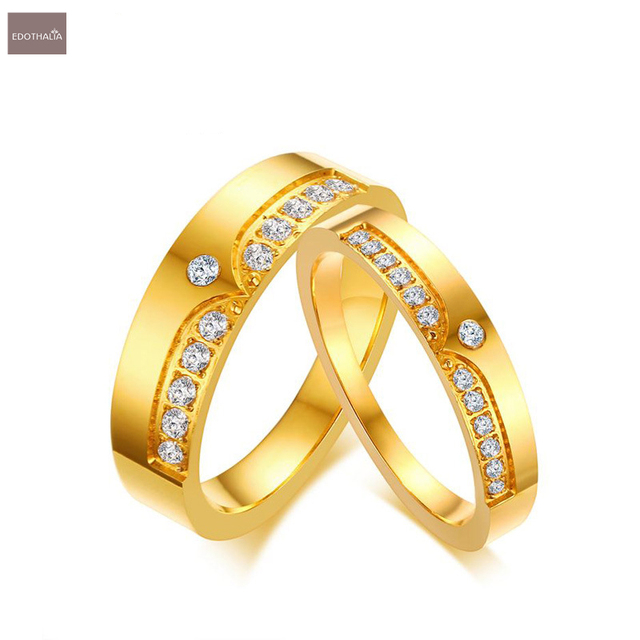 edothalia luxury aaa cz stone crown wedding rings for women men engagement ring anniversary gift gold - Crown Wedding Rings
