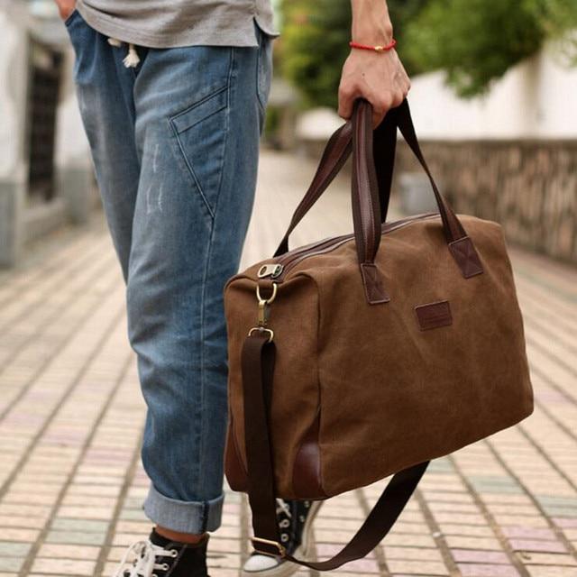 Vintage Canvas + Leather Men Fashion Travel Bags Luggage Bag Men Duffel Bags  Weekend Bag Overnight 64b5afdd1def7