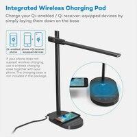 QI Wireless Charge Phone Modern LED Foldable Desk Lamp With USB Port 30 Levels Brightness Dimmer Office Reading Desktop Light