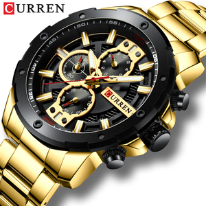 Image 1 - Sporty Watches Men Luxury Brand CURREN Fashion Quartz Watch with Stainless Steel Casual Business Wristwatch Male Clock Relojes