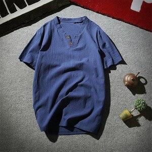 2019 neue Frühling Sommer Casual Shirts Männer Reinem Leinen Atmungs V neck Marke Kleidung Größe M-7XL