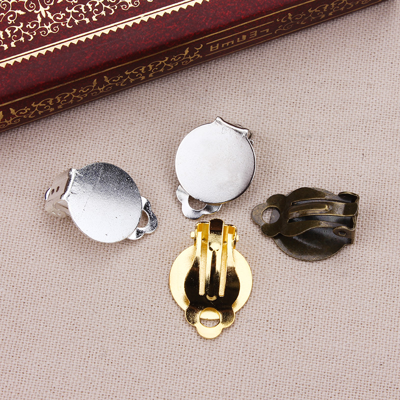10pcs/lot Zinc Alloy  No Pierced Ear Clips Clasp Fit  Flatback Cabochon Beads DIY Earring Making Accessories