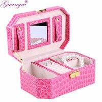 6 Kleur 2 Layer Pu Lederen Sieraden Verpakking Display Case Jewelry Organizer Box Voor Vrouwen Meisje Verjaardagscadeau