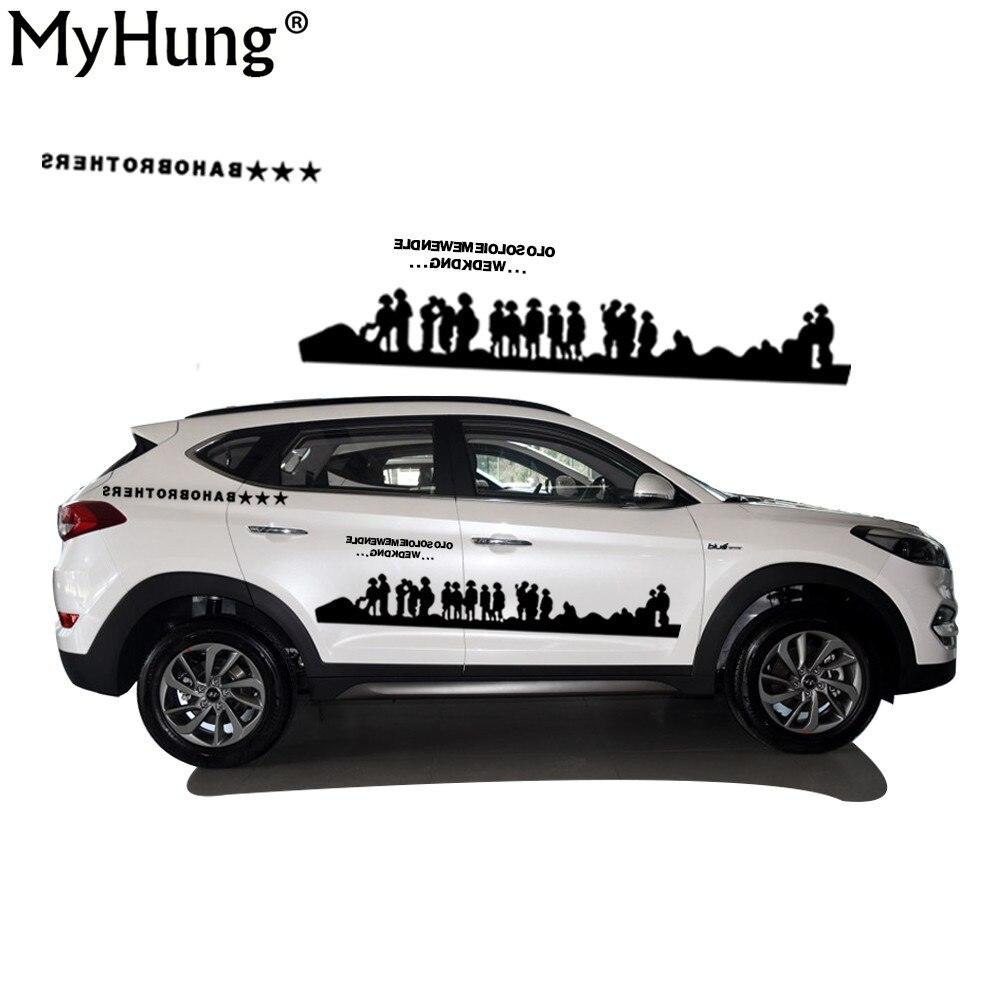Newest Car Styling For Hyundai Tucson SUV PVC Waterproof Car Pull Decals People Battle Car Decoration Car Whole Body Sticker 2PC 4pcs set smoke sun rain visor vent window deflector shield guard shade for hyundai tucson 2016