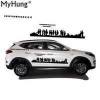 Newest Car Styling For Hyundai Tucson SUV PVC Waterproof Car Pull Decals People Battle Car Decoration Car Whole Body Sticker 2PC