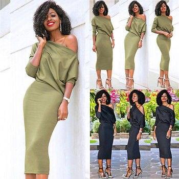 AiiaBestproducts Women One Shoulder Summer Split Long Dress