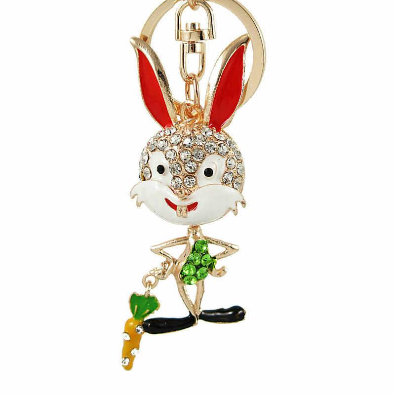 Moda dos desenhos animados impertinente coelho strass chaveiro carro chaveiro coelho bonito crystal clear chave animal cadeia de coelho long-eared