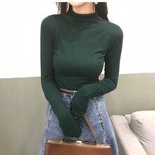 t shirt women Autumn and winter new half-high collar slim long-sleeved t-shirt top T-shirt tee femme plus size tops