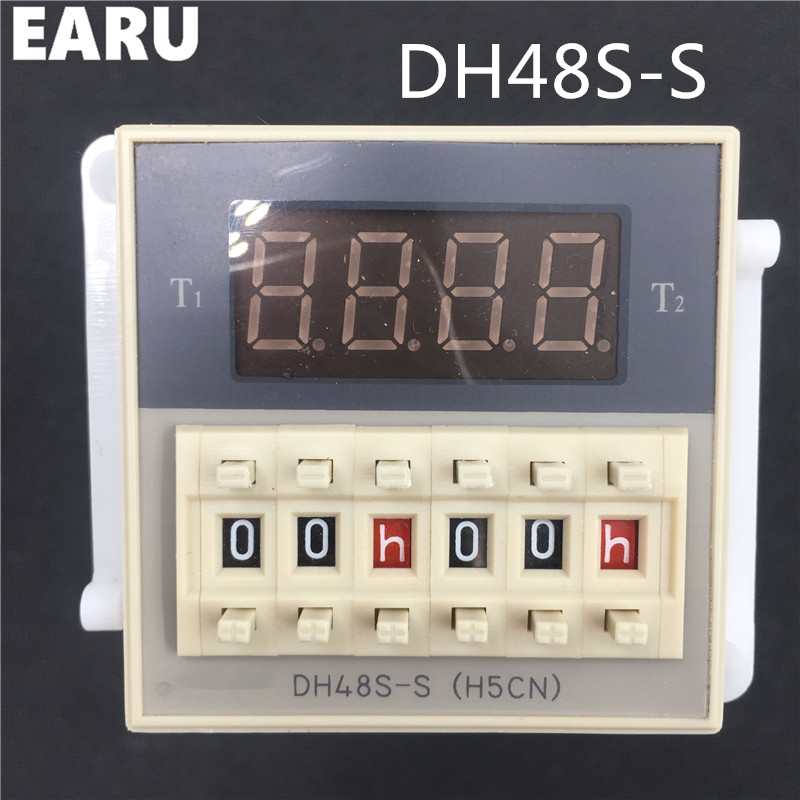 Free Shipping DH48S-S 0.1s-990h AC/DC 12V 24V Repeat Cycle SPDT Programmable Timer Time Switch Relay with Base DH48S Din Rail
