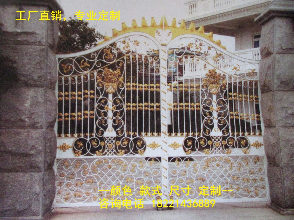 Custom Made Wrought Iron Gates Designs Whole Sale Wrought Iron Gates Metal Gates Steel Gates Hc-g57