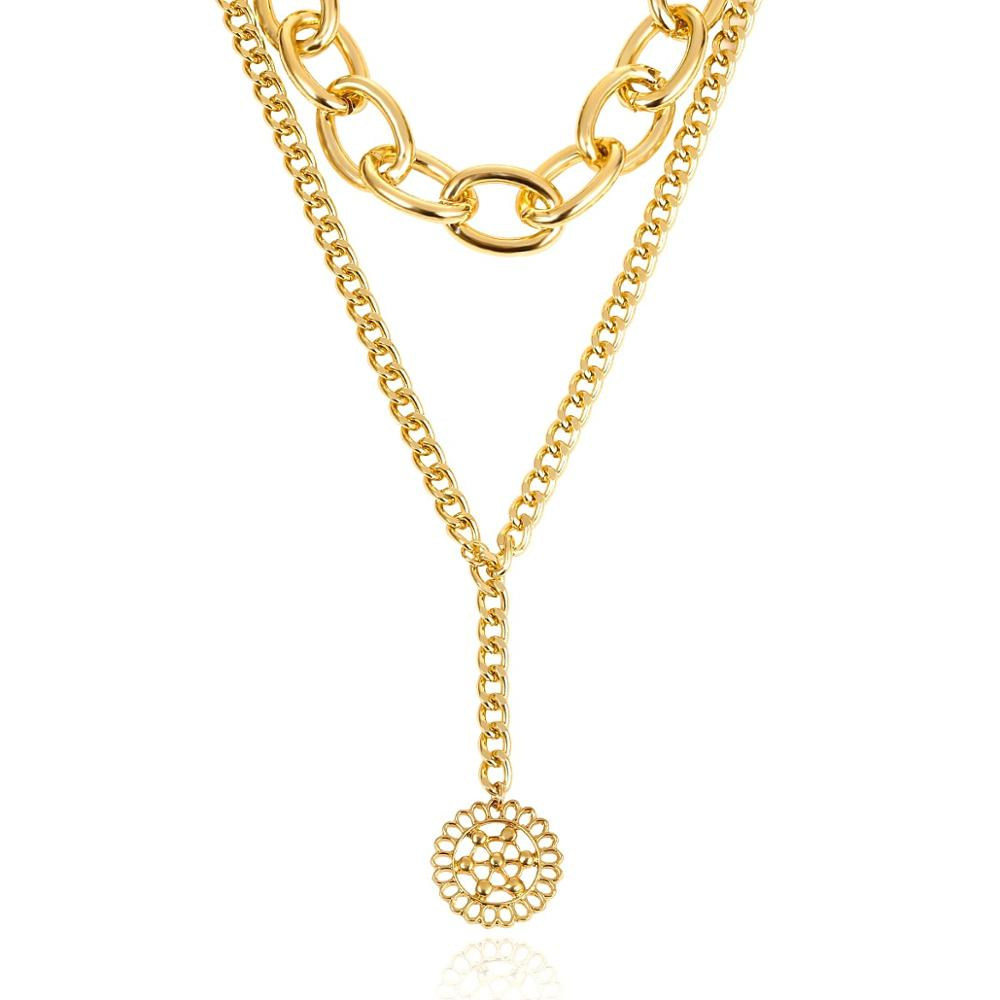 Vanmos Multi Layer Miami Cuba Thick Chain Choker Necklace Hollow Circle Coin Pendant Neck Collar Female Statement Jewelry in Choker Necklaces from Jewelry Accessories