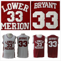 Cheap Throwback Basketball Jersey Kobe Jerseys High School Lower Merion 33 Red And White