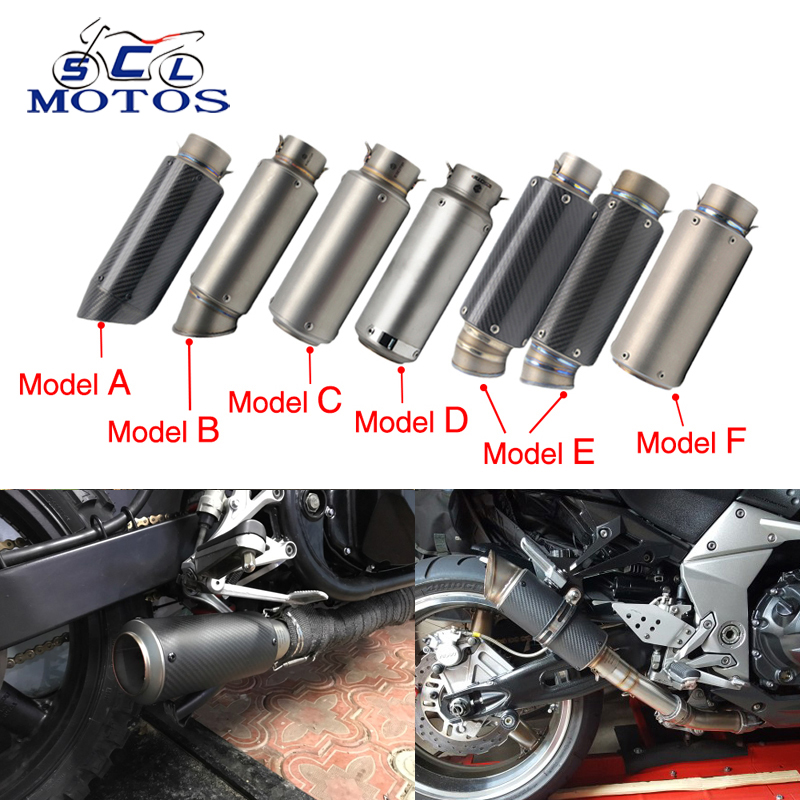 Sclmotos -51 or 60mm Motorcycle Exhaust Muffler Pipe SC GP Escape Moto Dirt Bike,Street Bike,Scooter ATV Quad Z750 Z800 Racing motorcycle gp exhaust universal muffler 38 51mm slip on for dirt bike street bike scooter atv quad new