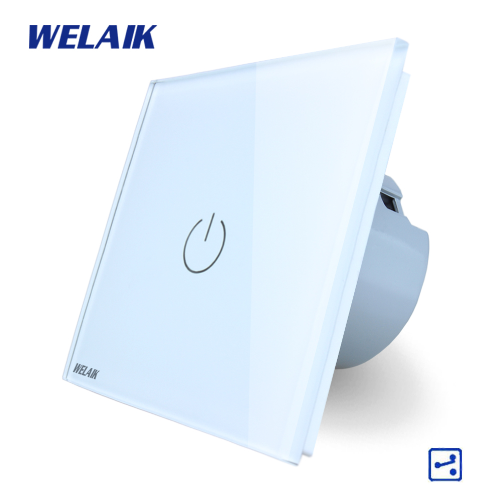WELAIK Crystal Glass Panel Switch White Wall Switch EU Touch Switch Screen Wall Light Switch 1gang2way AC110~250V A1912W/B smart home us au wall touch switch white crystal glass panel 1 gang 1 way power light wall touch switch used for led waterproof
