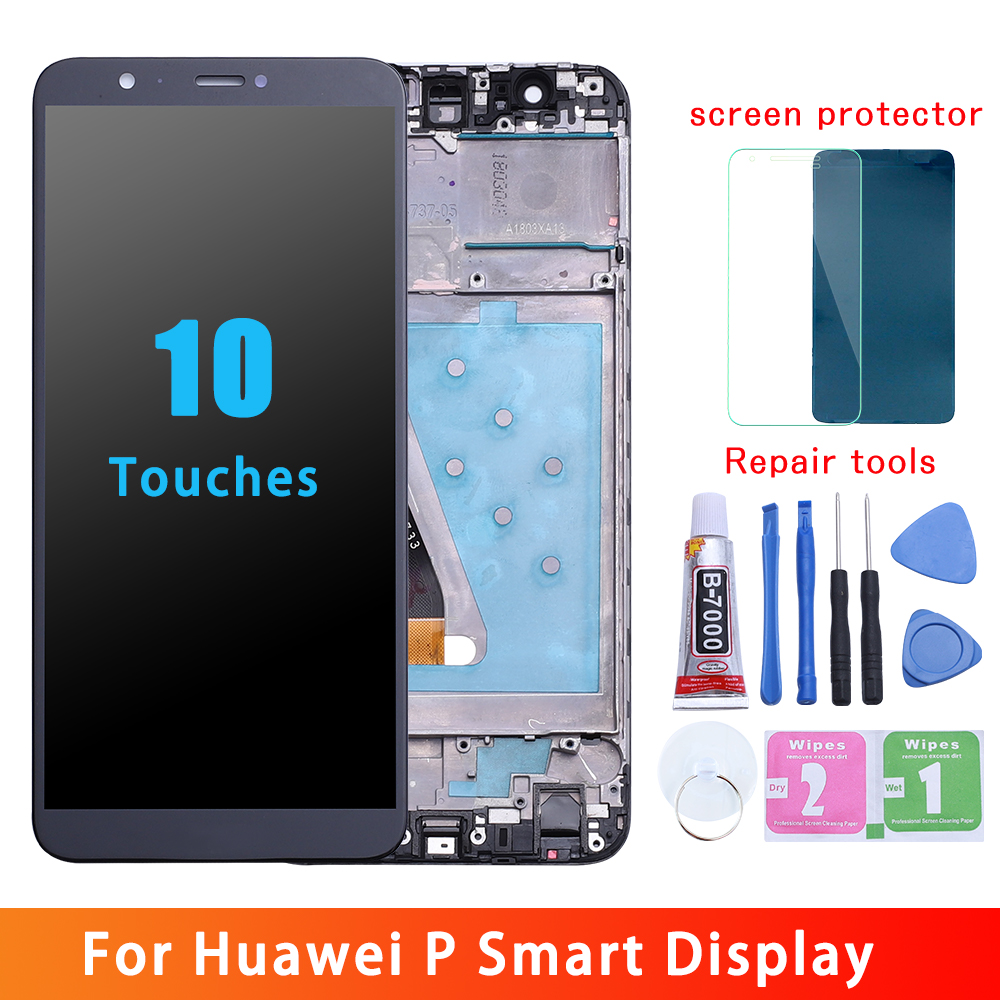 Huawei P LCD de pantalla inteligente digitalizador de pantalla táctil para Huawei P inteligente LCD con marco FIG LX1 L21 L22 reemplazo de la pantalla