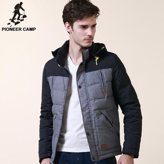 Pioneer camp roupas de marca de inverno para baixo homens do revestimento engrossar 100% pato branco para baixo homens jaqueta de algodão de qualidade masculino parkas negócios