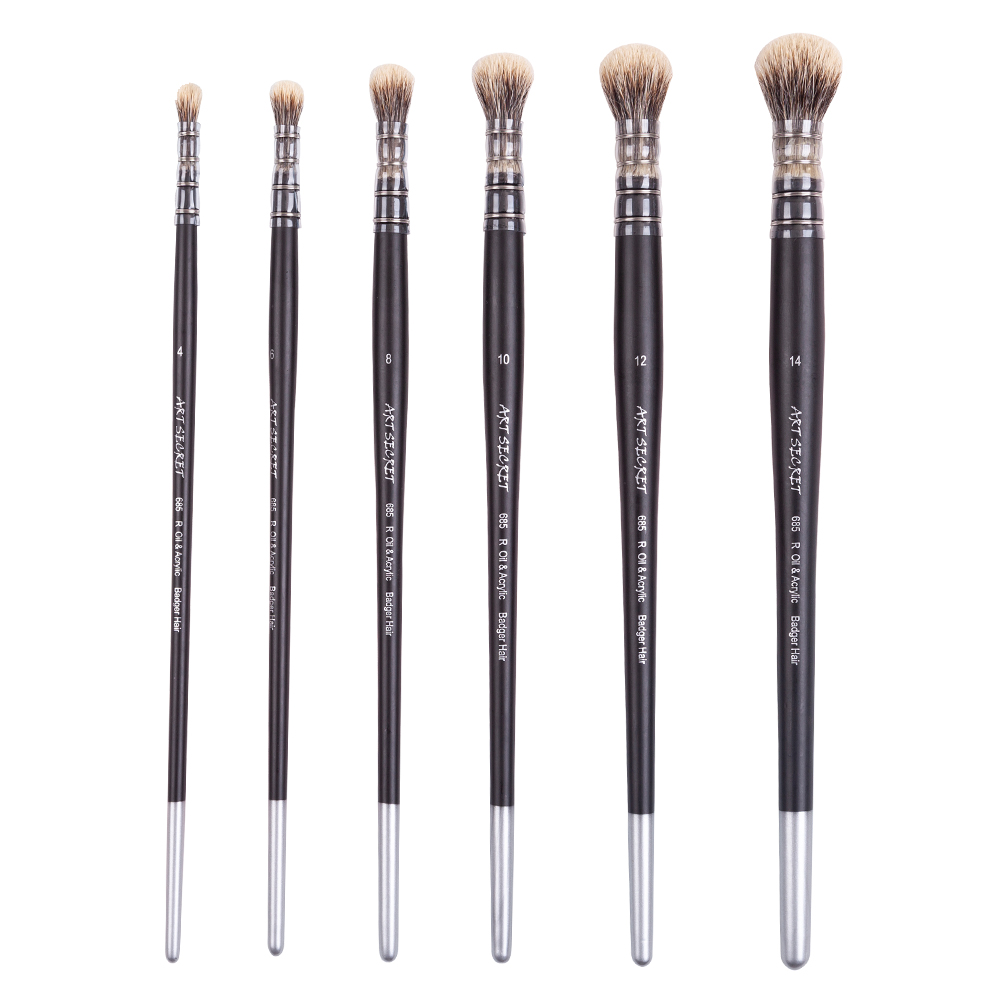 1PC 685R Badger Hair Wooden Handle Oil And Acrylic Painting Art Paint Brush For Drawing