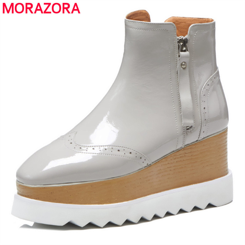 цена на MORAZORA 2018 New genuine leather ankle boots for women high heels wedges boots female platform spring autumn boots women shoes