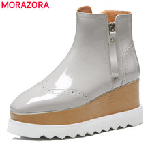MORAZORA 2020 Nuovo genuino di cuoio della caviglia stivali per le donne degli alti talloni dei cunei stivali femminili della piattaforma di autunno della molla stivali scarpe da donna