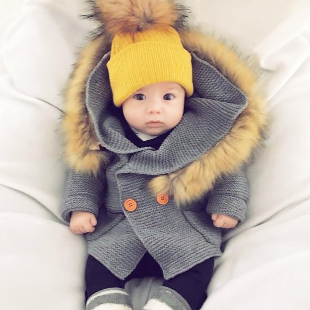 Zimowe ciepłe noworodka sweter futro kaptur odpinany szary - Odzież dla niemowląt - Zdjęcie 1