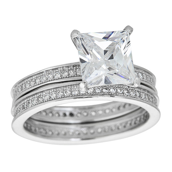 Ygi Sws109-9 Sterling Silver Silver-colored Micropave Princess Cut Wedding Set With Cubic Zirconia - 9 цепочка german silver 46sm page 9