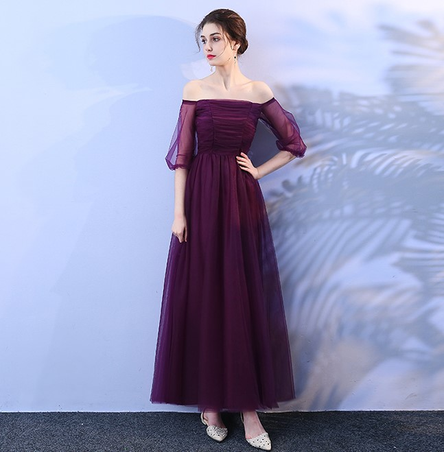 Grape Purple Dress Wedding Party Dress  Women Dress For Bridesmaid Adult Empire Bank Of Bandage