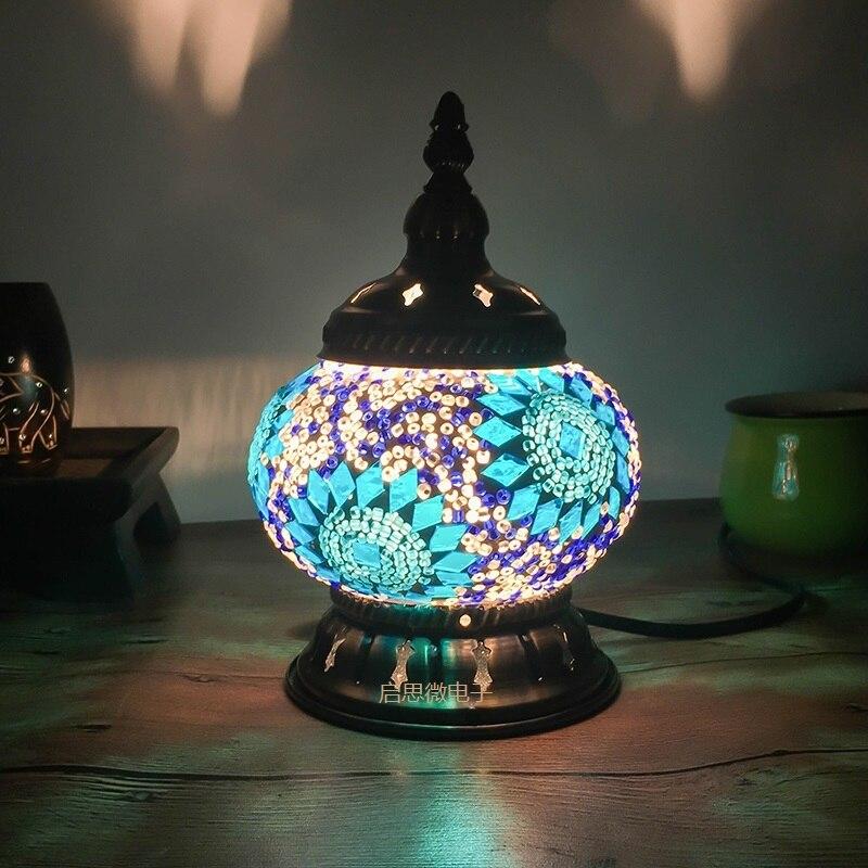 הכי חדש תורכי פסיפס שולחן מנורת בציר אמנות דקו בעבודת יד lamparas de mesa זכוכית רומנטי מיטת אור lamparas קון mosaicos