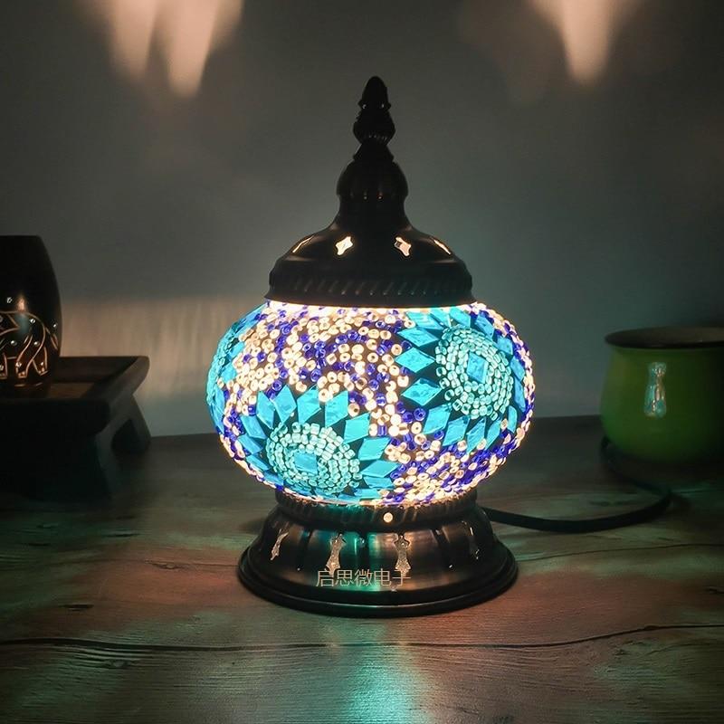 Newest Turkish Mosaic Table Lamp Vintage Art Deco Handcrafted Lamparas De  Mesa Glass Romantic Bed Light