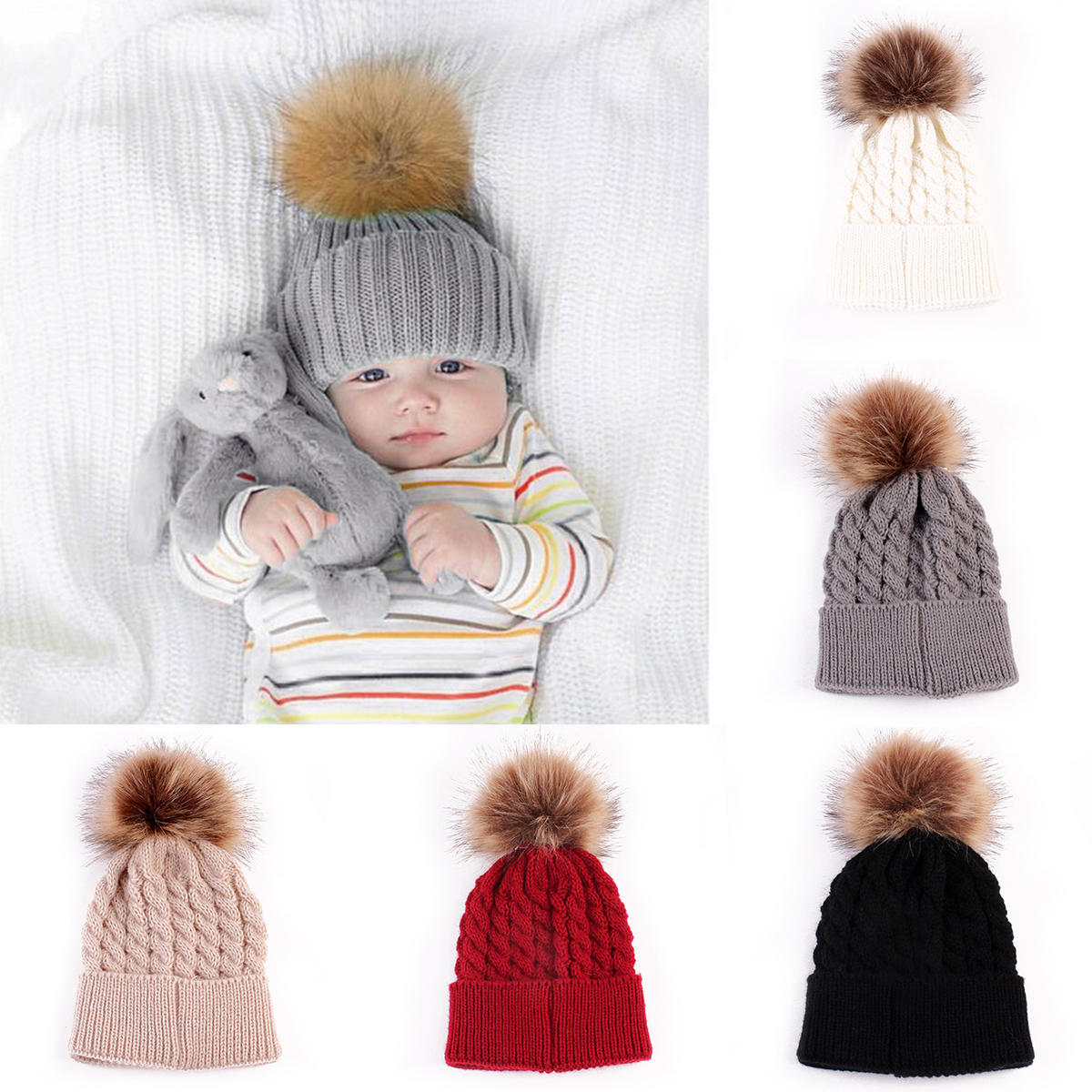 Baby Winter Beanie hat Warm Knit Crochet Caps Beanie Hat Toddler Kid Faux Fur prom prom Knit skullies ski Cap 0-3 years hot winter beanie knit crochet ski hat plicate baggy oversized slouch unisex cap