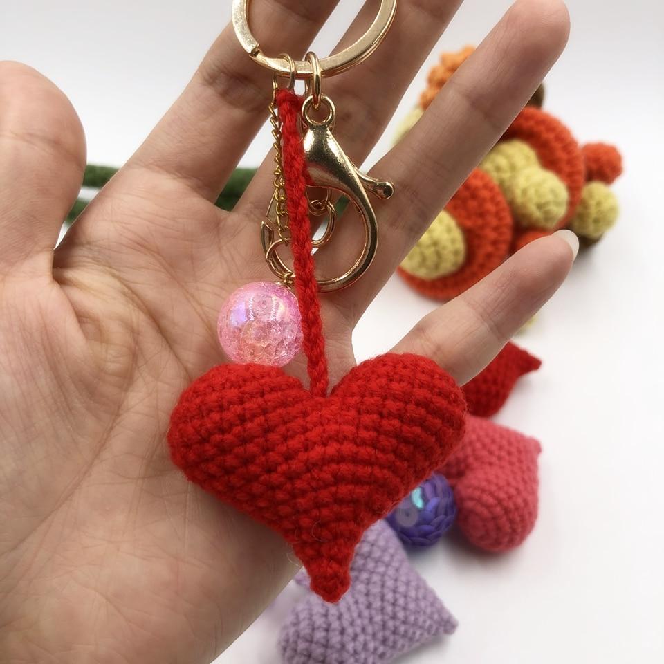 crochet heart with love written in beads Love Heart Keyring cute gift.