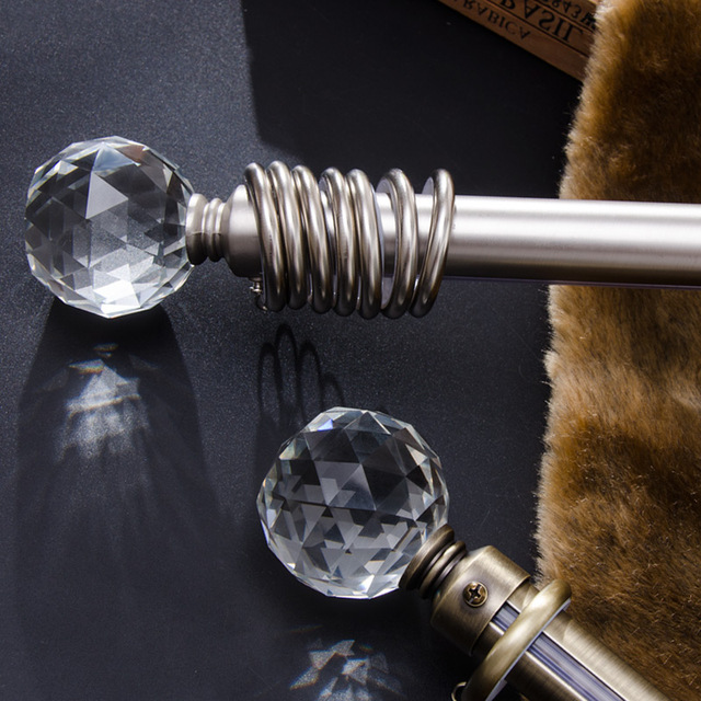 High Quality 28mm Diameter Curtain Poles Artistic Crystal Ball Or Cone 100cm Iron Single Rods
