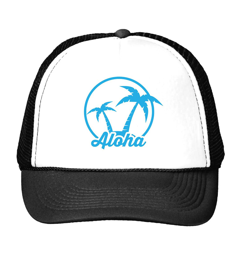 coconut palm aloha Print Baseball Cap Trucker Hat For Women Men Unisex Mesh Adjustable Size Drop Ship CU-3 showersmile brand sherlock holmes detective hat unisex cosplay accessories men women child two brims baseball cap deerstalker