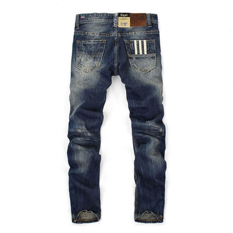 2018 new Famous Brand Fashion Designer Jeans Men Straight Dark Blue Color Printed Mens Jeans Ripped Jeans 100% Cotton Man Jeans