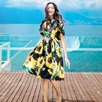 2017 New Women Vintage Dresses Printed Doll Collar Floral Dresses Cute Elegant Ladies Travelling Ball Gown Beach Dresses