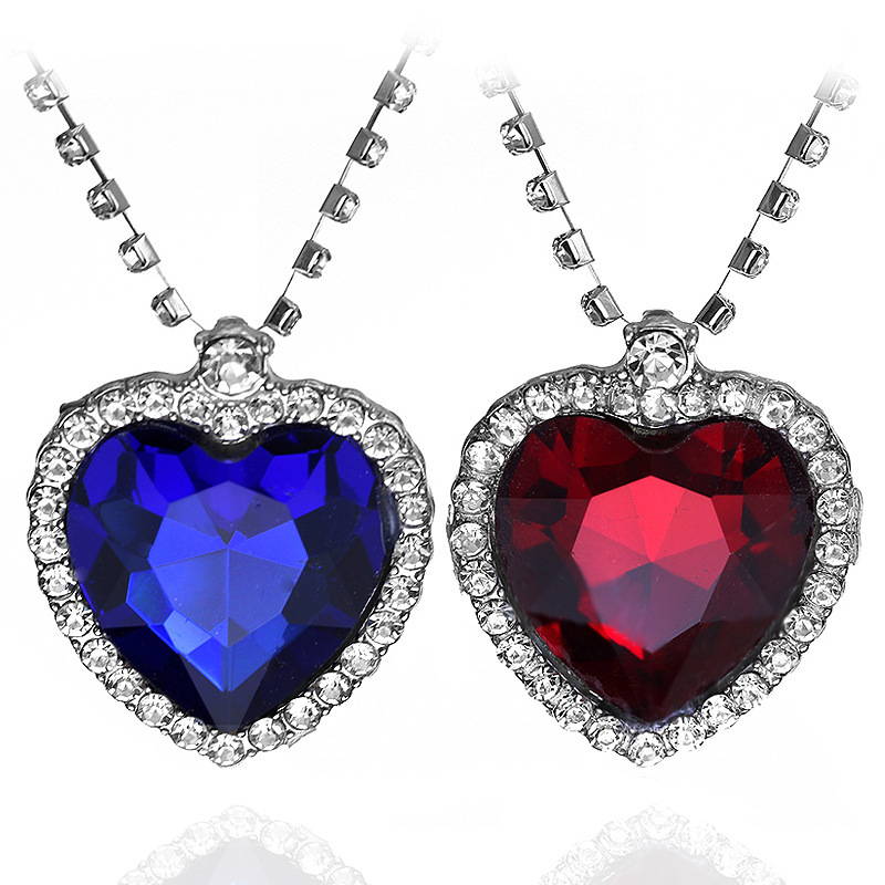 Fashion Film Jewelry TITANIC Heart Of the Sea Necklace With Blue And Red Crystal Chain For Best Women Gift
