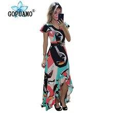 2019 Print Elegant Mermaid Dress Women Front High Split Cut Out Bandage Long Dress Vintage Off Shoulder Party Beach Dress недорого