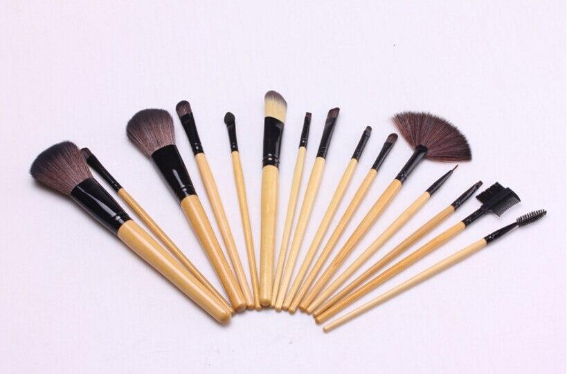 10 ensembles doux synthétique cheveux maquillage outils kit cosmétique beauté maquillage brosse noir ensembles avec étui en cuir 15 pièces/ensemble