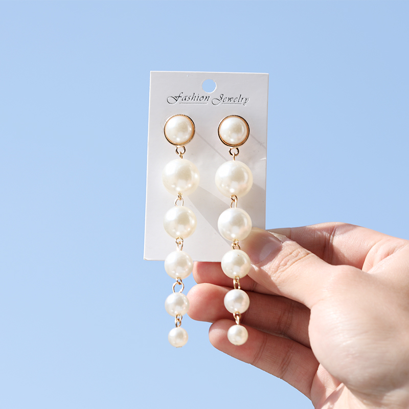Trendy Elegant Simulated Pearls Long Dangle Earrings For Women Jewelry Pearls String Statement Drop Earrings Wedding Party Gift
